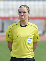 20180302 - LARNACA , CYPRUS : Czech referee Veronika Kovarova pictured during a women's soccer game between Italy and Wales , on friday 2 March 2018 at GSZ Stadium in Larnaca , Cyprus . This is the second game in group A for Italy and Wales during the Cyprus Womens Cup , a prestigious women soccer tournament as a preparation on the World Cup 2019 qualification duels. PHOTO SPORTPIX.BE | DAVID CATRY