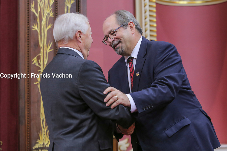 Geoffrey Kelley is sworn in as Ministre responsable des Affaires autochtones (Minister responsible for Native Affairs) of the new Liberal cabinet at the National Assembly in Quebec city October 11, 2017.<br /> <br /> PHOTO :  Francis Vachon - Agence Quebec Presse