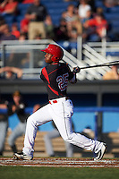 Batavia Muckdogs shortstop Samuel Castro (25) at bat during a game against the West Virginia Black Bears on June 29, 2016 at Dwyer Stadium in Batavia, New York.  West Virginia defeated Batavia 9-4.  (Mike Janes/Four Seam Images)