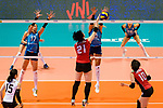 Ai Kurogo of Japan (C) attacks during the FIVB Volleyball Nations League Hong Kong match between Japan and Argentina on May 31, 2018 in Hong Kong, Hong Kong. Photo by Marcio Rodrigo Machado / Power Sport Images