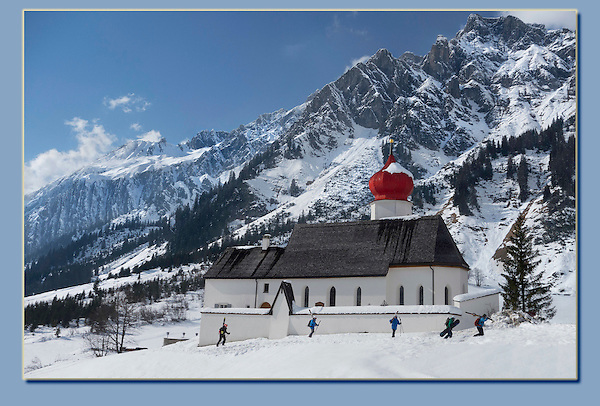Photoshop. Skiers and snowboarder added. <br />