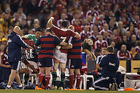 MELBOURNE, 29 JUNE 2013 - Sam WARBURTON, Captain of the Lions is helped off the pitch during the Second Test match between the Australian Wallables and the British and Irish Lions at Etihad Stadium on 29 June 2013 in Melbourne, Australia. (Photo Sydney Low / sydlow.com)