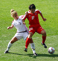 Hyon Hi Yun (PRK) and Amber Brooks (USA)..FIFA U17 Women's World Cup Final, USA v Korea DPR, Albany Stadium, Auckland, New Zealand, Sunday 16 November 2008. Photo: Renee McKay/PHOTOSPORT