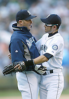 04 October 2009: Seattle Mariners #5 Mike Sweeney (left) and #51 Ichiro Suzuki (right) hug after the game. Seattle won 4-3 over the Texas Rangers at Safeco Field in Seattle, Washington.
