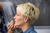 Winnipeg, Canada- June 14, 2015:  Megan Rapinoe of the USWNT appeared on FIFA Women's World Cup Tonight on Fox at the waterfront set in Vancouver.