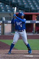Kansas City Royals third baseman Dennicher Carrasco (51) at bat during an Instructional League game against the Arizona Diamondbacks at Chase Field on October 14, 2017 in Scottsdale, Arizona. (Zachary Lucy/Four Seam Images)