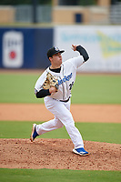 Biloxi Shuckers relief pitcher Daniel Brown (29) during a Southern League game against the Montgomery Biscuits on May 8, 2019 at MGM Park in Biloxi, Mississippi.  Biloxi defeated Montgomery 4-2.  (Mike Janes/Four Seam Images)