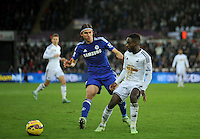 SWANSEA, WALES - JANUARY 17:   of  during the Barclays Premier League match between Swansea City and Chelsea at Liberty Stadium on January 17, 2015 in Swansea, Wales. Swansea's Nathan Dyer on the ball