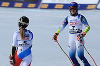 18th February 2021; Cortina d'Ampezzo, Italy;  FIS Alpine World Ski Championships 2021 Cortina  Women's Giant Slalom,  Left, Lara Gut and Mikaela Shiffrin (USA)