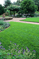 Lush lawn and pathway