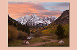 Sunset at the Maroon Bells and Maroon Lake in autumn, Aspen, Colorado. John offers autumn photo tours throughout Colorado.