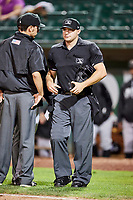 Home plate umpire Jake Bruner at Lindquist Field on September 14, 2017 in Ogden, Utah. The Ogden Raptors defeated the Great Falls Voyagers 7-4 in Game One of the Pioneer League Championship. (Stephen Smith/Four Seam Images)