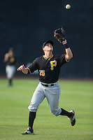 Bristol Pirates shortstop Logan Ratledge (25) catches a fly ball during the game against the Johnson City Cardinals at Howard Johnson Field at Cardinal Park on July 6, 2015 in Johnson City, Tennessee.  The Pirates defeated the Cardinals 2-0 in game one of a double-header. (Brian Westerholt/Four Seam Images)