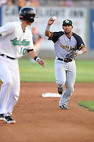 Jamie Westbrook #2 of the South Bend Silver Hawks chases down runner during pickoff attempt against the Clinton LumberKings at Ashford University Field on July 26, 2014 in Clinton, Iowa. The Sliver Hawks won 2-0.   (Dennis Hubbard/Four Seam Images)