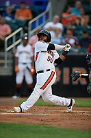 Aberdeen IronBirds Lenin Rodriguez (50) bats during a NY-Penn League game against the Vermont Lake Monsters on August 19, 2019 at Leidos Field at Ripken Stadium in Aberdeen, Maryland.  Aberdeen defeated Vermont 6-2.  (Mike Janes/Four Seam Images)