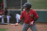 Arizona Diamondbacks shortstop Domingo Leyba (4) at bat during an Extended Spring Training game against the Colorado Rockies at Salt River Fields at Talking Stick on April 16, 2018 in Scottsdale, Arizona. (Zachary Lucy/Four Seam Images)
