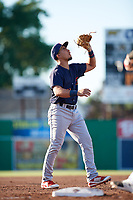 State College Spikes third baseman Stanley Espinal (21) catches a popup during a game against the Batavia Muckdogs on July 7, 2018 at Dwyer Stadium in Batavia, New York.  State College defeated Batavia 7-4.  (Mike Janes/Four Seam Images)