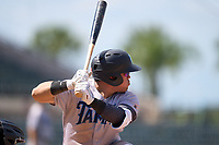 Tampa Tarpons Andres Chaparro (24) bats during a game against the Lakeland Flying Tigers on May 16, 2021 at Joker Marchant Stadium in Lakeland, Florida.  (Mike Janes/Four Seam Images)