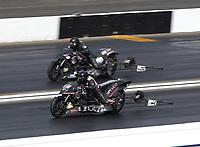 Feb 9, 2020; Pomona, CA, USA; NHRA top fuel Harley Davidson nitro motorcycle rider Tii Tharpe during the Winternationals at Auto Club Raceway at Pomona. Mandatory Credit: Mark J. Rebilas-USA TODAY Sports