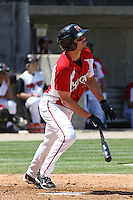 Eric Eymann  #9 of the Carolina Mudcats hitting during a game against the Montgomery Biscuits on April 18, 2010 in Zebulon, NC.