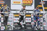 Tom Neave of the Neave Twins team (No. 68) on the podium after winning the Pirelli National Superstock 600 Championship race at the 2017 BSB Round 6 - Brands Hatch GP Circuit at Brands Hatch, Longfield, England on Sunday 23 July 2017. Photo by David Horn/PRiME Media Images