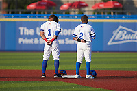 (L-R) Giovanny Alfonzo (1) and Edwin Arroyo (2) of the High Point Rockers stand for the National Anthem prior to the game against the Southern Maryland Blue Crabs at Truist Point on June 18, 2021, in High Point, North Carolina. (Brian Westerholt/Four Seam Images)