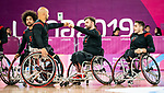 David Eng, Bo Hedges, and Vincent Dallaire, Lima 2019 - Wheelchair Basketball // Basketball en fauteuil roulant.<br /> Canada takes on the USA in the gold medal game in men's wheelchair basketball // Le Canada affronte les États-Unis dans le match pour la médaille d'or en basketball en fauteuil roulant masculin. 31/08/2019.