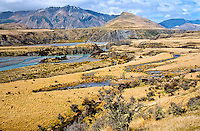 Poulter River meets with Waimakariri River near Arthur's Pass with Black Range mountains behind - Canterbury, New Zealand