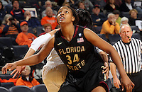 Feb. 7, 2011; Charlottesville, VA, USA; Florida State Seminoles forward Chelsea Davis (34) looks for the rebound during the second half of the game against the Virginia Cavaliers at the John Paul Jones Arena. The Florida State Seminoles won 78-74. Mandatory Credit: Andrew Shurtleff-US PRESSWIRE