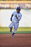 South Bend Cubs left fielder Roberto Caro (43) running the bases during a game against the Burlington Bees on July 22, 2016 at Four Winds Field in South Bend, Indiana.  South Bend defeated Burlington 4-3.  (Mike Janes/Four Seam Images)