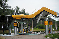 A gas station damaged by Ukraine shelling.  Slavyanks, Ukraine