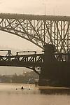 Seattle, bridges, Aurora bridge, Fremont Bridge, Lake Washington Ship Canal, Fremont, neighborhood, morning,  rowers in sunrise, Pacific Northwest, Washington State,