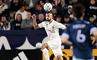 CARSON, CA - MARCH 07: Giancarlo Gonzalez #21 of the Los Angeles Galaxy heads off a ball during a game between Vancouver Whitecaps and Los Angeles Galaxy at Dignity Health Sports Park on March 07, 2020 in Carson, California.