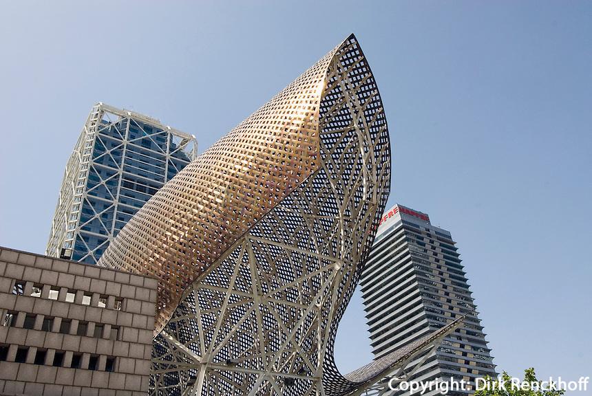 Spanien, Barcelona, Hotel Arts und Fisch-Skulptur von Frank O.Gehry