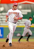 13 June 2006: Brian Schneider, catcher for the Washington Nationals, trots into third during a game against the Colorado Rockies at RFK Stadium, in Washington, DC. The Rockies defeated the Nationals 9-2 in the second game of the four-game series...Mandatory Photo Credit: Ed Wolfstein Photo..