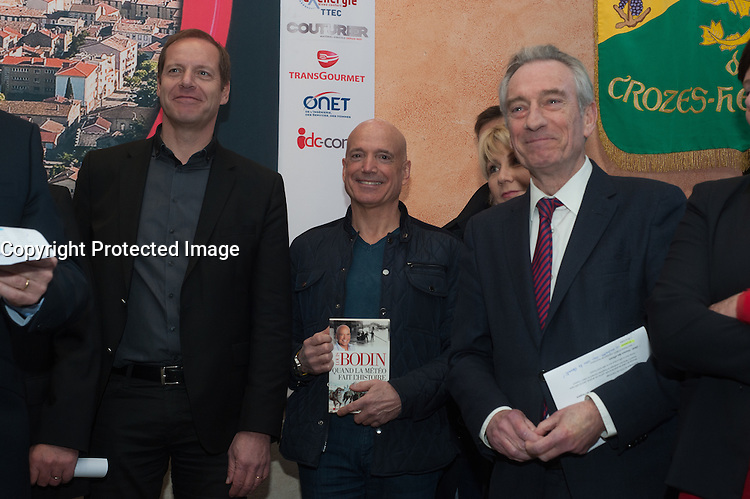 CHRISTIAN PRUDHOMME, LOUIS BODIN , PATRICK LABAUNE - INAUGURATION DU SALON DES VINS DE TAIN L'HERMITAGE
