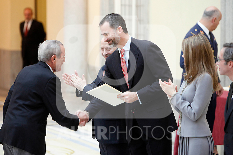 Elio Berhanyer, Prince Felipe of Spain and Princess Letizia of Spain attend the National Awards of Culture 2011 and 2012 at Palacio de El Pardo. February 19, 2013. (ALTERPHOTOS/Caro Marin)