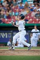 Kane County Cougars catcher Tim Susnara (6) hits a sacrifice fly during a game against the West Michigan Whitecaps on July 19, 2018 at Northwestern Medicine Field in Geneva, Illinois.  Kane County defeated West Michigan 8-5.  (Mike Janes/Four Seam Images)