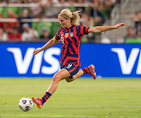 AUSTIN, TX - JUNE 16: Lindsey Horan #9 of the USWNT crosses the ball during a game between Nigeria and USWNT at Q2 Stadium on June 16, 2021 in Austin, Texas.