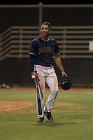 AZL Padres 2 second baseman Sean Guilbe (10) walks off the field after a questionable call by the home plate umpire during an Arizona League game against the AZL Padres 1 at Peoria Sports Complex on July 14, 2018 in Peoria, Arizona. The AZL Padres 1 defeated the AZL Padres 2 4-0. (Zachary Lucy/Four Seam Images)