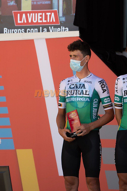 Julen Amezqueta (ESP) Caja Rural-Seguros RGA most aggressive rider from yesterday's stage at sign on before Stage 3 of La Vuelta d'Espana 2021, running 202.8km from Santo Domingo de Silos to Picon Blanco, Spain. 16th August 2021.      <br /> Picture: Cxcling | Cyclefile<br /> <br /> All photos usage must carry mandatory copyright credit (© Cyclefile | Cxcling)
