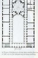 Plan of Palazzo della Sapienza by Borromini, 1642. Rome italy.
