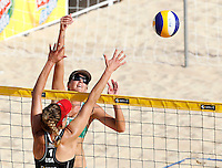 April Ross, of the United States, back to camera, in action against her compatriot Jennifer Fopma at the Beach Volleyball World Tour Grand Slam, Foro Italico, Rome, 21 June 2013.<br /> UPDATE IMAGES PRESS/Isabella Bonotto