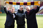 Motherwell v St Johnstone...31.01.15    SPFL<br /> Former Motherwell Chairman John Boyle, Keith Lasley club captain and new Chairman Brian McCafferty<br /> Picture by Graeme Hart.<br /> Copyright Perthshire Picture Agency<br /> Tel: 01738 623350  Mobile: 07990 594431