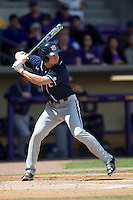 Auburn Tigers outfielder Hunter Kelley #2 at bat against the LSU Tigers in the NCAA baseball game on March 24, 2013 at Alex Box Stadium in Baton Rouge, Louisiana. LSU defeated Auburn 5-1. (Andrew Woolley/Four Seam Images).