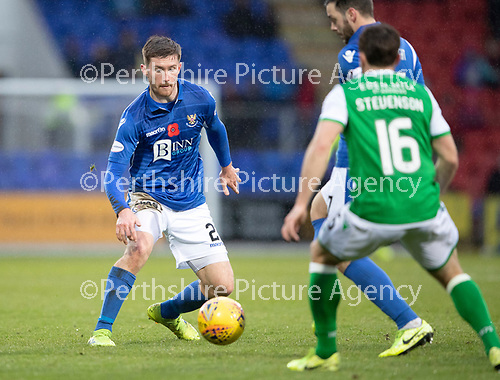 St Johnstone v Hibs…..09.11.19   McDiarmid Park   SPFL<br />Anthon y Ralston is closed down by Lewis Stevenson <br />Picture by Graeme Hart.<br />Copyright Perthshire Picture Agency<br />Tel: 01738 623350  Mobile: 07990 594431