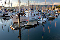 John Wayne Marina harbor with sunrise. Washington. Washington