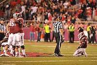 NWA Democrat-Gazette/MICHAEL WOODS • @NWAMICHAELW<br /> University of Arkansas runningback Alex Collins reacts after loosing a fumble in the 4th quarter of Saturday nights game against Texas Tech at Razorback Stadium in Fayetteville.
