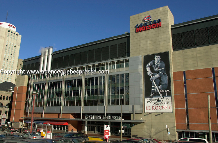 """NEW MAJORITY OWNER FOR THE MONTREAL CANADIENS AND SALE OF THE MOLSON CENTRE<br /> <br /> March 7th, 2001 outside photo of the north side of the Molson Centre; home of the Montreal `` Canadiens `` hockey club.<br /> Molson Inc. today on January 31st, 2001  that a new majority owner (for the Montreal Canadiens and  the Molson Centre) ;  Colorado businessman George N. Gillett Jr. will purchase 80.1% controlling interest in the hockey team and 100% of the Molson Centre in a deal valued at $275 million. Molson will retain a 19.9% stake in the hockey team and receive a total of $190 million in cash. """"<br /> George Gillett is an experienced businessman with accomplishments in sports, resort and leisure management, television broadcasting, transportation and agriculture. He currently serves as chairman of Booth Creek Management Corp., and managing partner of the Gillett Family Partnerships, which control or have investments in a variety of businesses. Mr. Gillett is also Chairman and Chief Executive Officer of Booth Creek Ski Holdings, Inc., made up of some of the finest ski resorts in the United States. """"<br /> Molson's decision to sell a majority interest in the hockey club was announced in June 2000, after a thorough examination of its role in the sports and entertainment industry, in the context of the Company's commitment to return to its brewing roots. It is also a logical step in the development of a strategy to improve the hockey team while leveraging the 40-year business relationship between Molson and the Canadiens. <br /> Molson (TSE: MOL.A) is Canada's pre-eminent brewer with more than $2 billion in annual sales. Founded in 1786, Molson is North America's oldest beer brand and a global brand name with products that include Molson Canadian, Molson Export, Molson Dry, Rickard's Red and the Brazilian beer brand, Bavaria. <br /> <br /> Photo by Pierre Roussel / Liaison<br /> NOTE :  Nikon D-1 Tiff opened as NTSC and converted to Adobe RGB. No levels adjusted.<br /> """