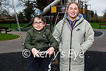 Little Omar McCarthy on the swings with Rebecca O'Halloran in playground in the Tralee town park on Monday.